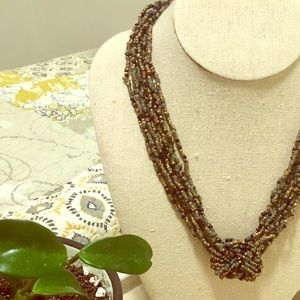 Jewelry - Beaded knot necklace, golds, teal and black